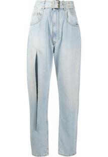Maison Margiela Calça Jeans Com Detalhe De Fenda - Azul