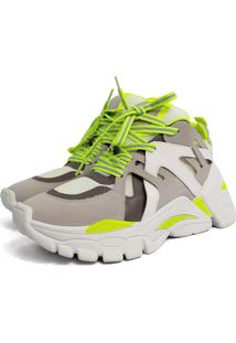 Tênis Sneaker Chunky Damannu Shoes Judy Verde Neon