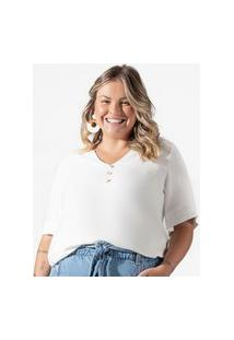 Camisa Feminina Plus Size Creponada Secret Glam Bege