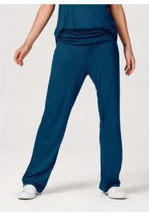 Calça Feminina Pantalona Com Elastano Azul
