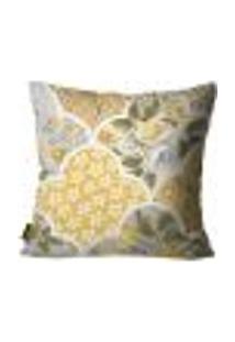 Capa Para Almofada Premium Peluciada Mdecore Floral Amarelo 45X45Cm