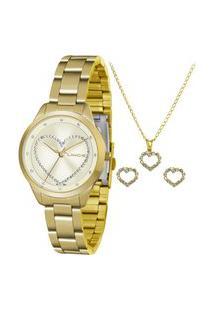 Kit De Relógio Analógico Lince Feminino + Brinco + Colar - Lrg4557L Kv11C1Kx Dourado