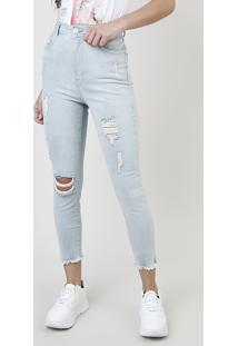Calça Jeans Feminina Skinny Pull Up Destroyed Cintura Alta Com Rasgos Azul Claro