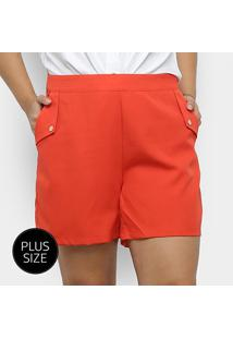 Shorts City Lady Plus Size Alfaitaria Liso Feminino - Feminino-Laranja