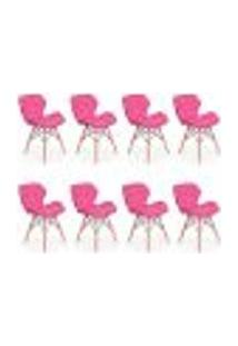 Kit 08 Cadeiras Charles Eames Eiffel Slim Wood Estofada - Rosa