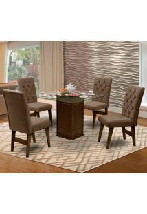 Mesa Para Sala De Jantar Saint Louis Com 4 Cadeiras – Dobuê Movelaria - Castanho / Cacau