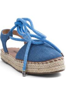 Sandalia Espradrille Com Amarracao Azul