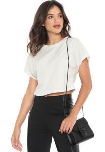 Camiseta Cropped Morena Rosa Recortes Off-White