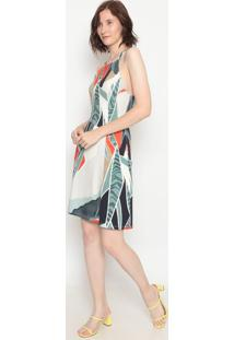 Vestido Abstrato Com Recortes- Off White & Verde- Foforum