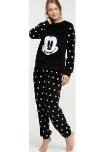 Pijama Feminino Pelúcia Estampa Mickey Disney