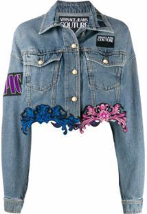 Versace Jeans Couture Jaqueta Jeans Com Renda Na Barra - Azul