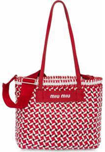 Miu Miu Bolsa Tote Com Padronagem Trançada - Vermelho