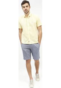 Camisa Slim Fit Texturizada - Amarelo Claroaramis