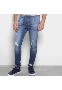 Calça Jeans Skinny Biotipo Rasgos Masculina - Masculino-Azul