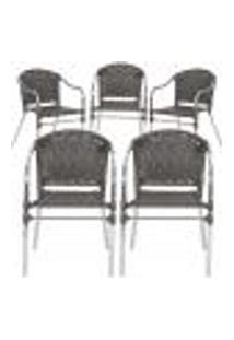 Cadeiras 5Un Para Area Varanda Fibra Sintetica Sala Cozinha Jardim Sacada Floripa - Tabaco