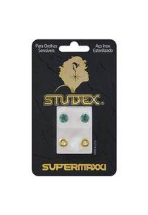 Brinco Studex Supermaxxi Dourado Pedra Verde 1 Par