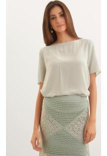 Blusa Le Lis Blanc Mica 9 Seda Verde Feminina (Pomme, Pp)
