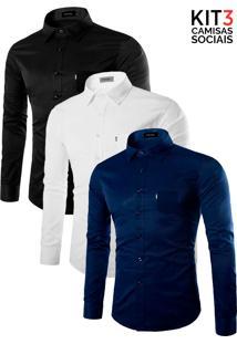 Kit 3 Camisas Amil - Azul, Preta E Branca-M
