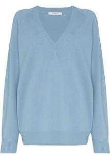 Givenchy Suéter Amplo Com Decote Em V - Azul