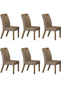 Conjunto Com 6 Cadeiras Verona Ipê E Veludo Camurça