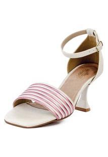 Sandália Salto Taça Tirinhas Off White E Metalizado Rosa