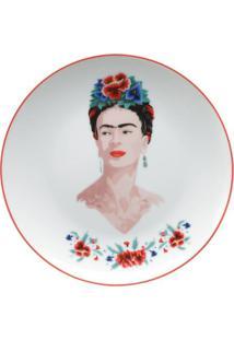 Jogo 2 Pratos Porcelana Sobremesa Frida Kahlo Body And Flowers Branco 19,2 X 2 Cm