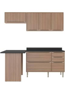 Cozinha Compacta Multimoveis Calabria 5460 Nogueira Se