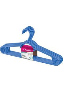 Cabide Em Plástico Pendura Mais Azul Escuro Com 6 Peças