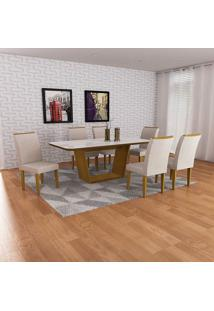 Conjunto Sala De Jantar Mesa Sofia 180 C/ 06 Cadeiras Lunara - Imbuia/Branco Veludo Creme - Rufato