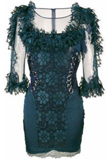 Christopher Kane Vestido Com Renda - Azul