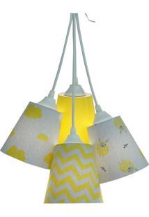 Lustre Pendente Luminária Bebê Nuvens E Carneirinhos Cinza E Amarelo