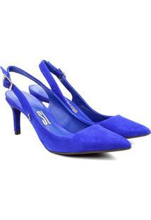 Scarpin Couro Santa Lolla Chanel Salto Médio - Feminino-Azul Escuro