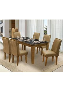 Mesa Para Sala De Jantar Saint Michel Com 6 Cadeiras – Dobuê Movelaria - Mell / Preto / Kaki