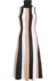 Vestido Midi Listra Vertical - Preto E Branco