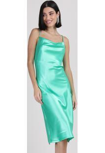 Vestido Slip Dress Feminino Manu Gavassi Midi Acetinado Alça Fina Gola Degagê Verde Água