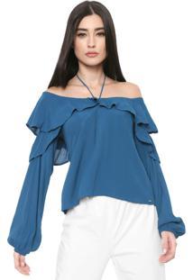Blusa Ciganinha Colcci Babados Azul