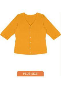 Camisa Feminina Manga 7/8 Amarelo