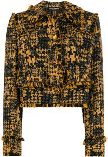 Dolce & Gabbana Blazer De Tweed Com Franjas - Preto