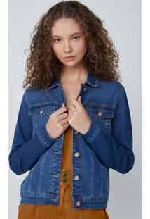 Jaqueta Feminina Trucker Em Jeans Com Elastano - Azul