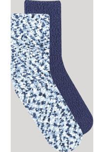 Kit De 2 Meias Feminina De Inverno Cano Alto Felpudas Azul Marinho - Único