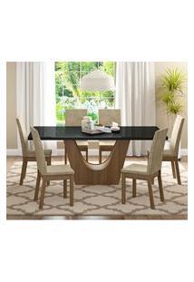 Conjunto Sala De Jantar Madesa Úrsula Mesa Tampo De Vidro Com 6 Cadeiras Marrom