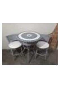 Conjunto De Mesa E Cadeira Mosaico Branco E Cinza Gourmet
