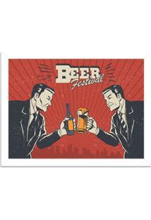 Quadro Decorativo Retrô Beer Festival Branco - Grande