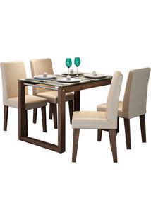 Conjunto De Mesa Anita Para Sala De Jantar Com E 4 Cadeiras Milena -Cimol - Marrocos / Caramelo