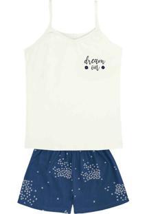 Pijama Feminino Em Malha De Algodao Com Alcas Finas Estampado