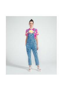 Macacão Longo Jeans Liso Com Recortes E Bolsos | Blue Steel | Azul | G
