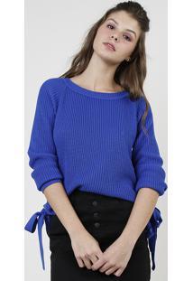 Suéter Feminino Em Tricô Com Ilhoses Decote Redondo Azul Royal