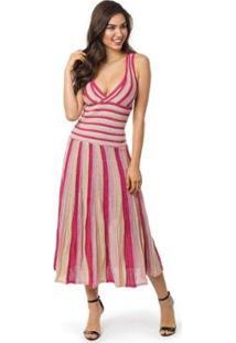 Vestido Pink Tricot Longo Plissado Listrado Feminino - Feminino-Pink