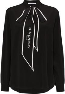 Givenchy Blusa Com Logo E Laço Na Gola - Preto