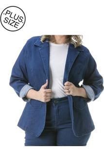 f3db44edd3 Blazer Azul Plus Size feminino